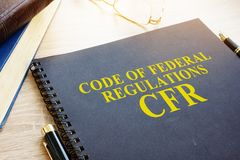 Code of Federal Regulations CFR. Code of Federal Regulations CFR and glasses Royalty Free Stock Photos