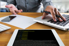 Code focus on programming code Coding  Php Html Coding Cyberspac Stock Photography