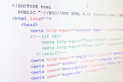 Code of HTML language Royalty Free Stock Image