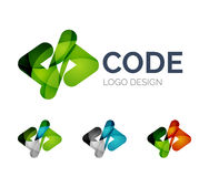 Code icon logo design made of color pieces. Abstract code icon logo design made of color pieces - various geometric shapes Stock Photos