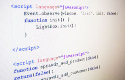 Code of JavaScript language Royalty Free Stock Photo