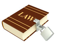 Code of laws, closed on the lock. Object isolated over white Stock Image
