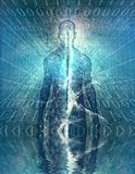 Code. Mysterious figure with binary code. This image created in entirety by me and is entirely owned by me and is entirely legal for me to sell and distribute Royalty Free Stock Photography