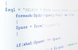 Code of php language on LCD screen. Extremely close-up Royalty Free Stock Images
