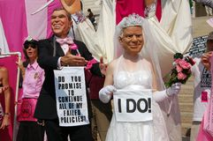Code Pink Protesters. On march on the Republican National Convention on September 1, 2008 Royalty Free Stock Image