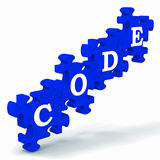Code Puzzle Showing Codification Or Encoding. Code Puzzle Showing Codification Or Software Encoding royalty free illustration