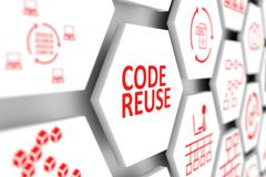 CODE REUSE concept. Cell blurred background 3d illustration Stock Image