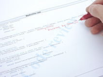 Code review of computer source code Stock Photos
