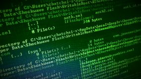 Code running up a computer screen stock footage