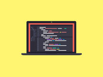 Code on the screen laptop Stock Photography