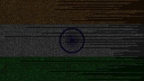 Code source et drapeau d'Inde Animation loopable relative indienne de technologie numérique ou de programmation illustration stock