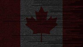 Code source et drapeau de Canada Animation loopable relative canadienne de technologie numérique ou de programmation illustration de vecteur