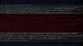Code source et drapeau de Costa Rica Animation loopable relative de technologie numérique ou de programmation illustration stock