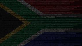 Code source et drapeau de l'Afrique du Sud Animation loopable relative de technologie numérique ou de programmation de SAR illustration de vecteur
