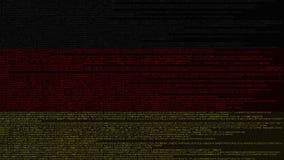 Code source et drapeau de l'Allemagne Animation loopable relative allemande de technologie numérique ou de programmation illustration stock