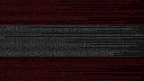 Code source et drapeau de l'Autriche Animation loopable relative autrichienne de technologie numérique ou de programmation illustration de vecteur