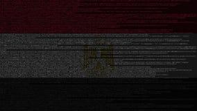 Code source et drapeau de l'Egypte Animation loopable relative égyptienne de technologie numérique ou de programmation illustration stock