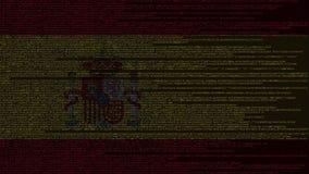 Code source et drapeau de l'Espagne Animation loopable relative espagnole de technologie numérique ou de programmation illustration stock