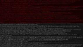 Code source et drapeau de l'Indonésie Animation loopable relative indonésienne de technologie numérique ou de programmation illustration libre de droits