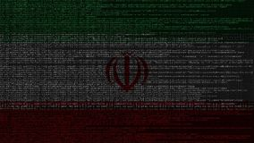 Code source et drapeau de l'Iran Animation loopable relative iranienne de technologie numérique ou de programmation illustration libre de droits