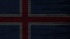 Code source et drapeau de l'Islande Animation loopable relative islandaise de technologie numérique ou de programmation illustration stock