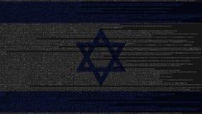 Code source et drapeau de l'Israël Animation loopable relative israélienne de technologie numérique ou de programmation illustration libre de droits