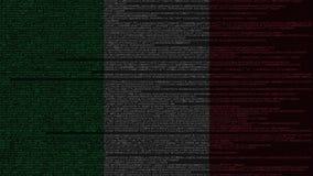 Code source et drapeau de l'Italie Animation loopable relative italienne de technologie numérique ou de programmation illustration libre de droits