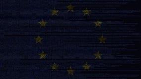 Code source et drapeau de l'UE Animation loopable relative de technologie numérique ou de programmation d'Union européenne illustration libre de droits
