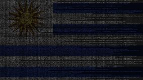 Code source et drapeau de l'Uruguay Animation loopable relative uruguayenne de technologie numérique ou de programmation illustration stock