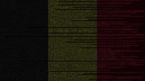 Code source et drapeau de la Belgique Animation loopable relative belge de technologie numérique ou de programmation illustration stock