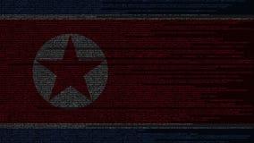 Code source et drapeau de la Corée du Nord Animation loopable relative de technologie numérique ou de programmation du DPRK illustration libre de droits