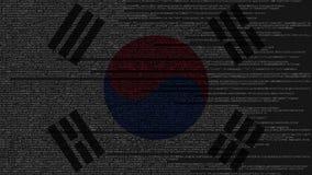 Code source et drapeau de la Corée du Sud Animation loopable relative coréenne de technologie numérique ou de programmation illustration de vecteur