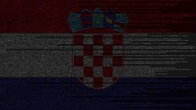 Code source et drapeau de la Croatie Animation loopable relative croate de technologie numérique ou de programmation illustration de vecteur
