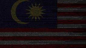 Code source et drapeau de la Malaisie Animation loopable relative malaisienne de technologie numérique ou de programmation illustration libre de droits