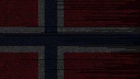 Code source et drapeau de la Norvège Animation loopable relative norvégienne de technologie numérique ou de programmation illustration libre de droits