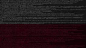 Code source et drapeau de la Pologne Animation loopable relative polonaise de technologie numérique ou de programmation illustration stock