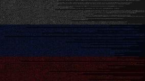 Code source et drapeau de la Russie Animation loopable relative russe de technologie numérique ou de programmation illustration libre de droits