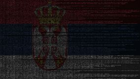 Code source et drapeau de la Serbie Animation loopable relative serbe de technologie numérique ou de programmation illustration de vecteur