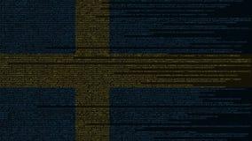 Code source et drapeau de la Suède Animation loopable relative suédoise de technologie numérique ou de programmation illustration stock