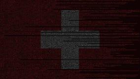 Code source et drapeau de la Suisse Animation loopable relative suisse de technologie numérique ou de programmation illustration de vecteur