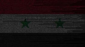 Code source et drapeau de la Syrie Animation loopable relative syrienne de technologie numérique ou de programmation illustration de vecteur