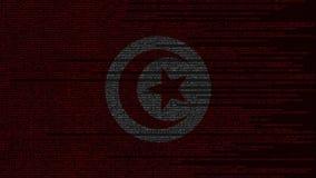 Code source et drapeau de la Tunisie Animation loopable relative tunisienne de technologie numérique ou de programmation illustration libre de droits
