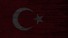 Code source et drapeau de la Turquie Animation loopable relative turque de technologie numérique ou de programmation illustration libre de droits