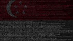 Code source et drapeau de Singapour Animation loopable relative singapourienne de technologie numérique ou de programmation illustration libre de droits