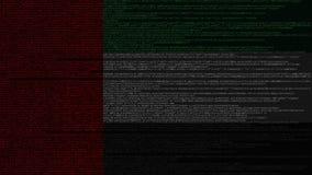 Code source et drapeau des EAU Animation loopable relative de technologie numérique ou de programmation des Emirats Arabes Unis illustration libre de droits
