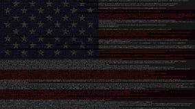 Code source et drapeau des Etats-Unis Technologie d'American Digital ou animation loopable relative de programmation illustration de vecteur