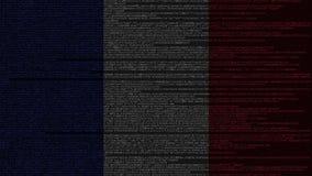 Code source et drapeau des Frances Animation loopable relative française de technologie numérique ou de programmation illustration de vecteur