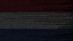 Code source et drapeau des Pays-Bas Animation loopable relative néerlandaise de technologie numérique ou de programmation illustration libre de droits