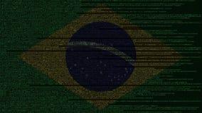 Code source et drapeau du Brésil Animation loopable relative brésilienne de technologie numérique ou de programmation illustration libre de droits
