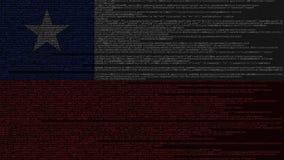 Code source et drapeau du Chili Animation loopable relative chilienne de technologie numérique ou de programmation illustration libre de droits